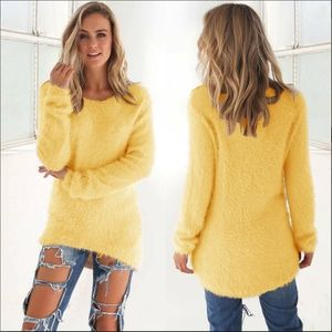 *LIMITED* Yellow Fuzzy Long Sleev Pullover Sweater